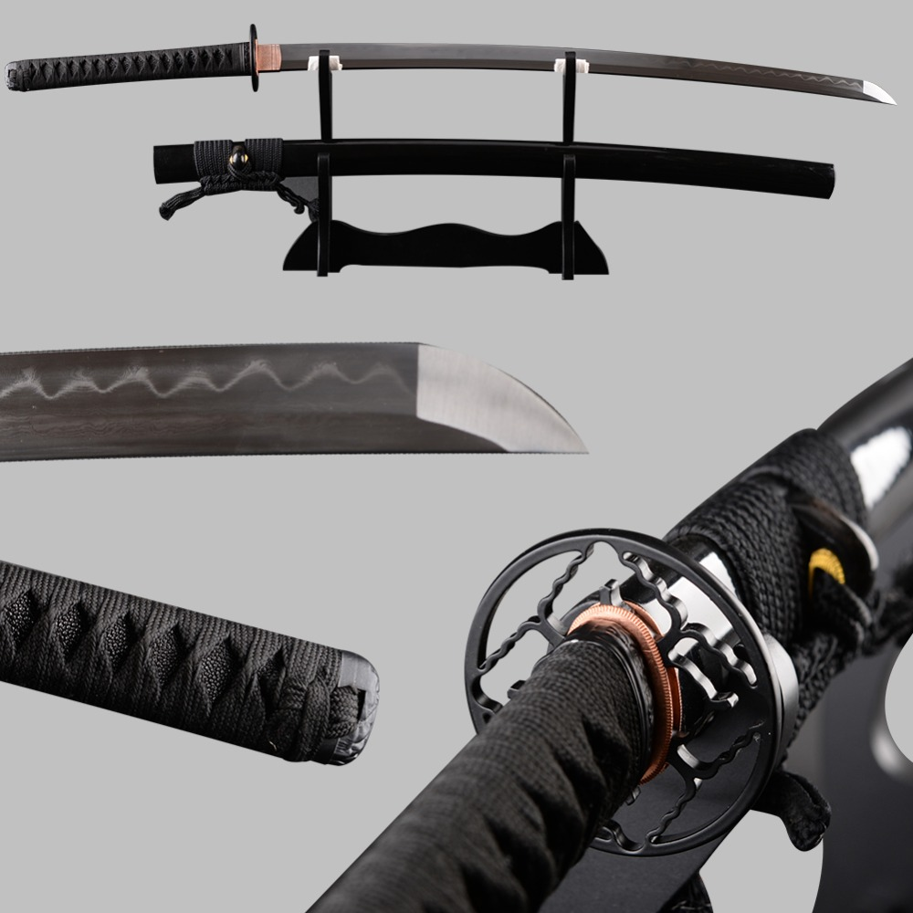 Molto Sharp Giapponese Samurai Spada Katana Acciaio Piegato Argilla Temperato Completa Tang Espadas Decorazione Vintage Samurai Cosplay Coltello