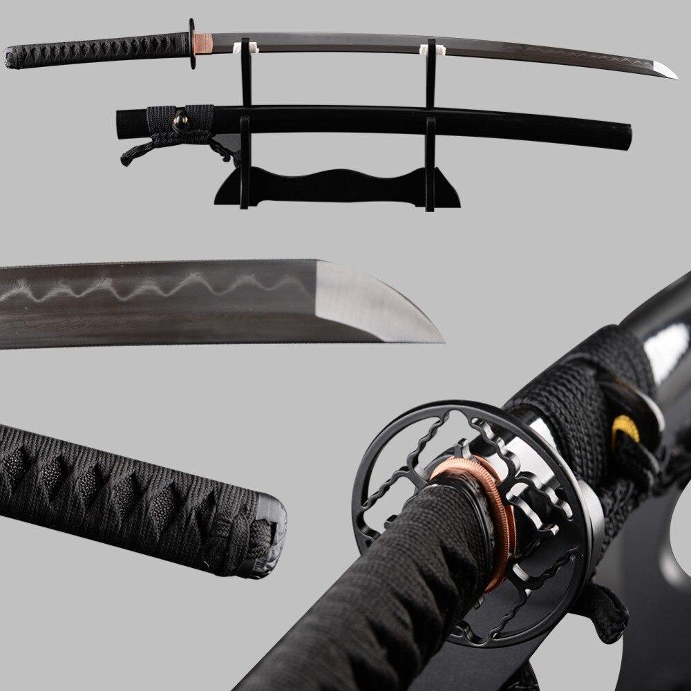 Muito Afiada Dobrado Aço Temperado Barro Samurai Japonês Espada do Katana Completa Tang Espadas Samurai Do Vintage Decoração Cosplay Faca