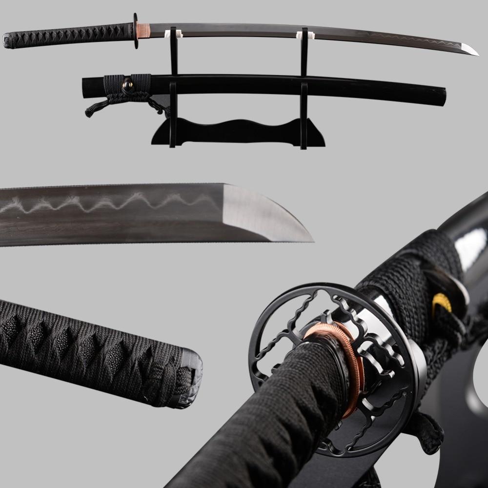 Très Forte Japonais Samurai Épée Katana Plié En Acier Trempé Clay Pleine Saveur Espadas Vintage Décoration Samurai Cosplay Couteau