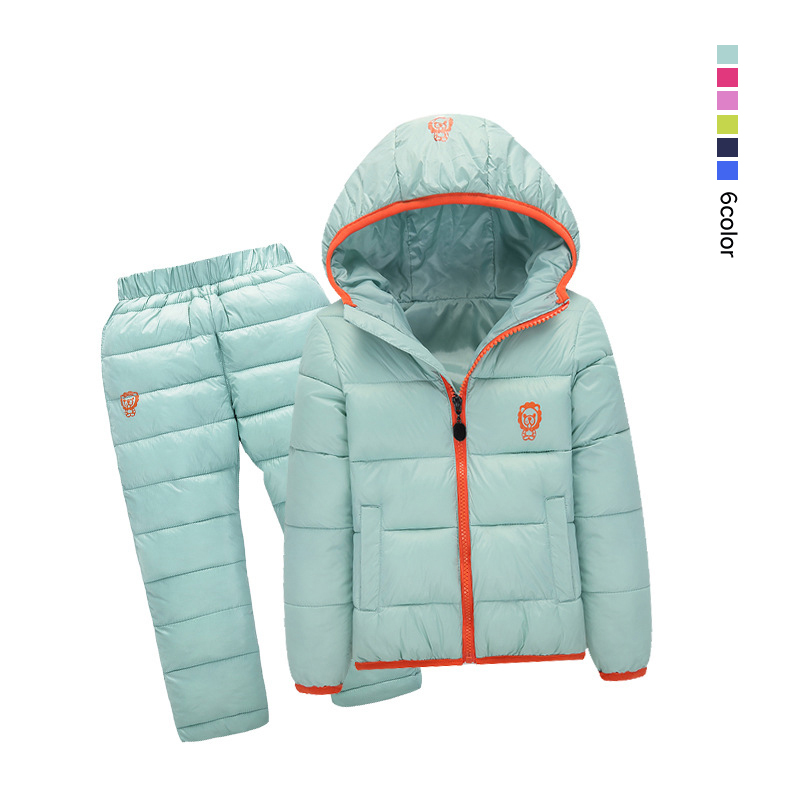2PCS Children Winter Duck Down Cotton-Padded Jacket+Pants Baby Boy Girl Winter Colthes Sets Infant Hooded Warm Outdoor Outerwear