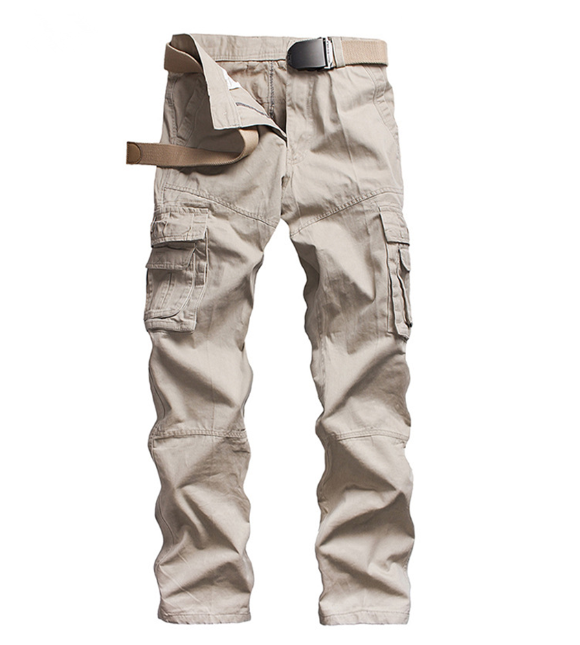 Mens Multi Pocket Cargo Pants Khaki Military Platform Casual Cotton Loose Baggy Multi-Pocket Full-Length Male Casual Trousers charmkpr mens military outdoor loose large size cotton multi pockets cargo pants