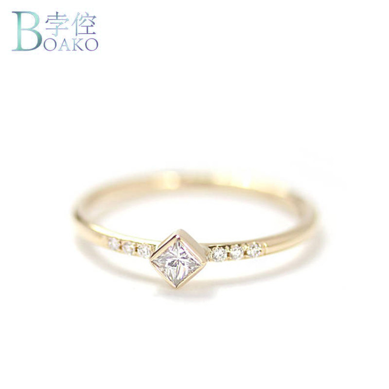 BOAKO Simple Square CZ Small Stone Thin Ring Gold Filled Engagement Rings For Women Boho Fashion Jewelry Wedding Ladies Gifts letra g bem bonita