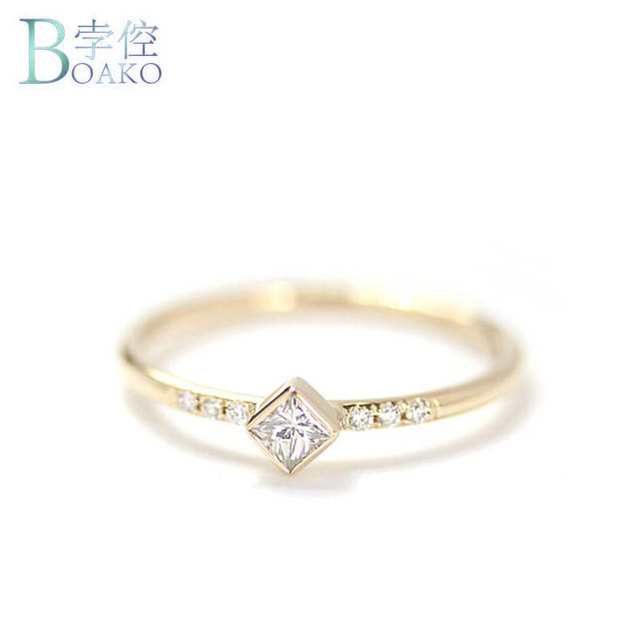 Boako Simple Square Cz Small Stone Thin Ring Gold Filled Engagement Rings For Women Boho Fashion