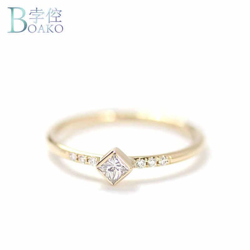 794f8c292f37 BOAKO Simple cuadrado CZ piedra pequeña Delgado anillo oro relleno anillos  de compromiso para las mujeres