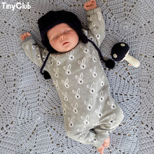 TinyPeople 2019 Baby Knitted jumpsuit Cotton rabbit onesie Autumn Winter boy clothes girl Overall Infant newbor Romper kids gift