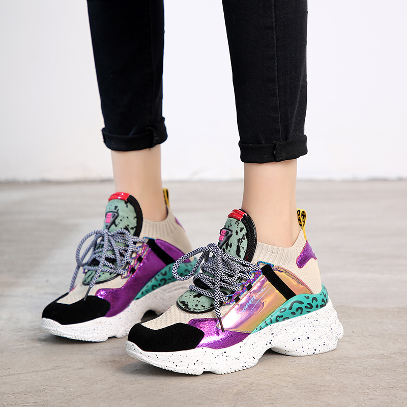 Women Chunky Platform Sneakers Knit Thick Soled Increased Shoes Women 2019 Autumn Breathable Woman Running Shoes