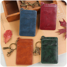 Classic PU Leather Bank ID Business Phone Credit Card Holder Men Women Mini Credit Card Wallet Purse Card Holders With Keyring