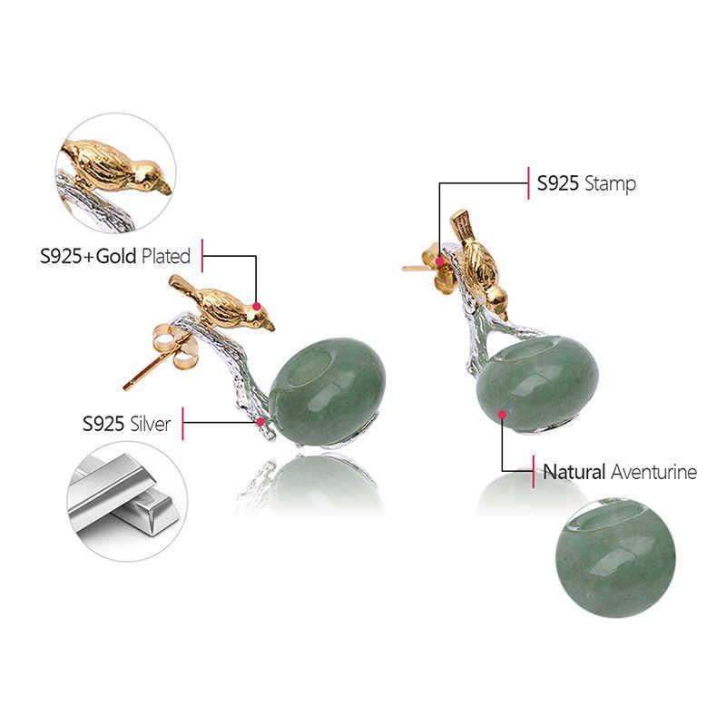 Loto Divertimento Reale Dell'argento Sterlina 925 di Pietra Naturale Fatti A Mano Creativa Gioielleria Raffinata Bella Uccello Ciondola Gli Orecchini Per le donne Brincos