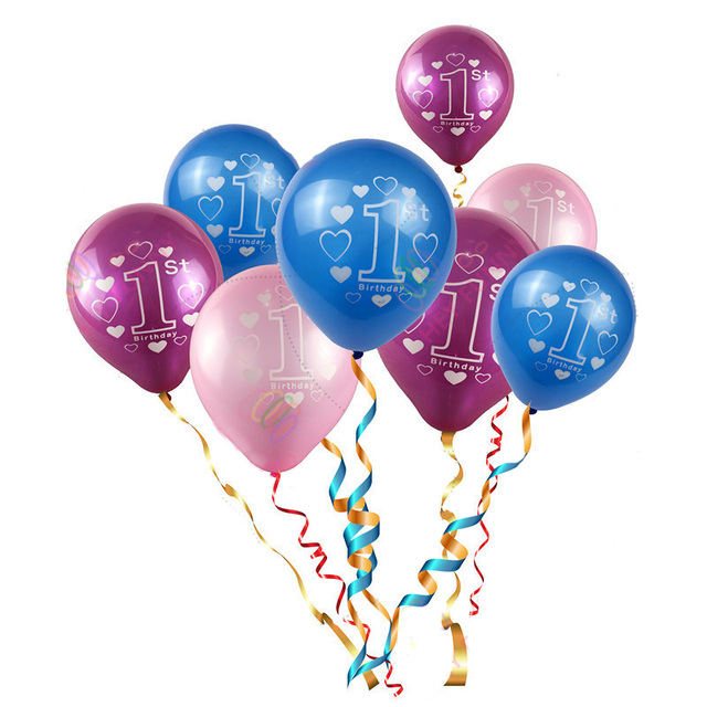 20pcs 1st Birthday Balloons 2nd Pink Blue Latex Balloons For Baby