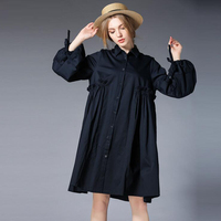 4XL Plus Size Cotton Shirt Dress For Women 2017 Spring Autumn Black Navy Color Sweet Lantern