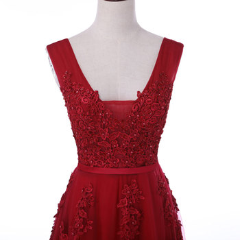 New arrival sexy party evening dresses Vestido de Festa A-line prom dress lace beading Robe De Soiree V-neck dress with Zipper 3