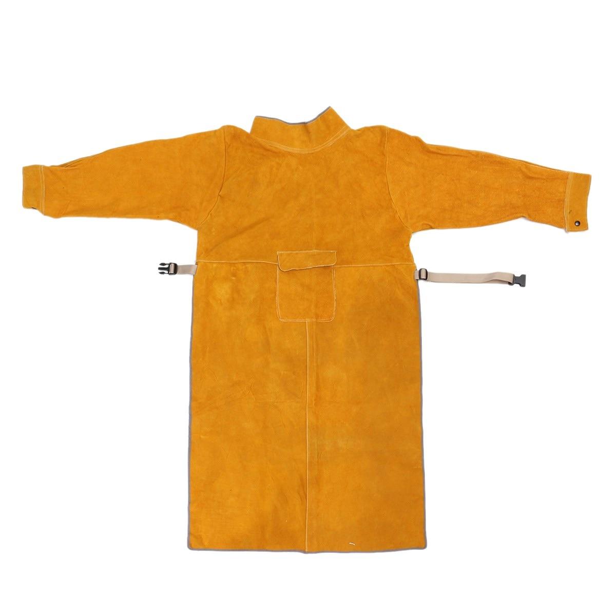bilder für Strapazierfähigem leder schweiß lange mantel schürze schutz clothing anzug schweißer arbeitssicherheit clothing