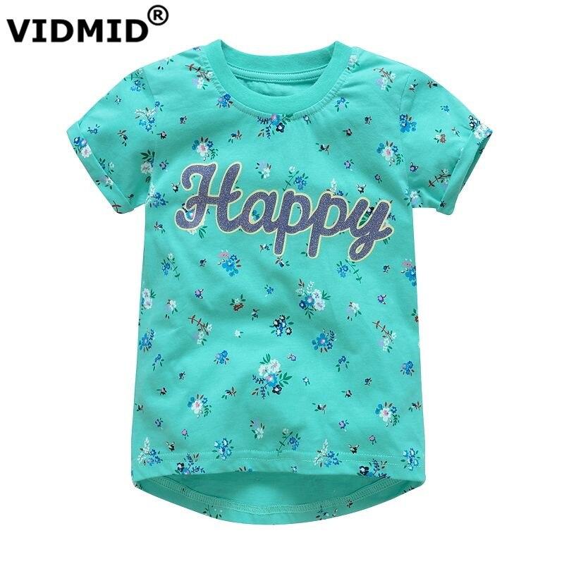 VIDMID Girls T-shirts Cartoon Short-sleeve Girls kids Top Tees 100% Cotton Baby Girls T-Shirt for Children Clothes paw patrol