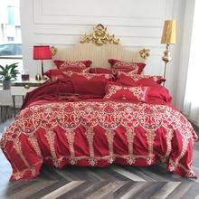 2018 Luxury European Red Wedding Bedding Set Embroidery Duvet Cover 4Pc Queen King Size Bedlinens Flat Sheet