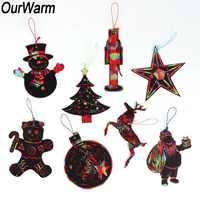 OurWarm 24pcs Christmas DIY Decorations Christmas Elements Art Paper Coloring Cards Magic Color Scratch Christmas Ornaments