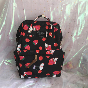 Image 4 - Japanese Style Harajuku Backpack Girl Cute Cartoon Style Ulzzabg Backpack Kawaii Strawberry Rabbit Leisure Backpack School Bag