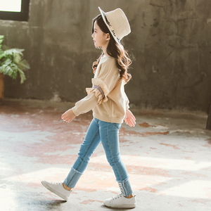 Image 3 - Ragazza Set di Autunno della Molla di Abbigliamento Per Bambini Set 2019 Solido Felpa + Jeans Pantaloni 2 Pcs sacchetto di Scuola Adolescente Ragazze Maniche Lunghe di Pizzo tuta