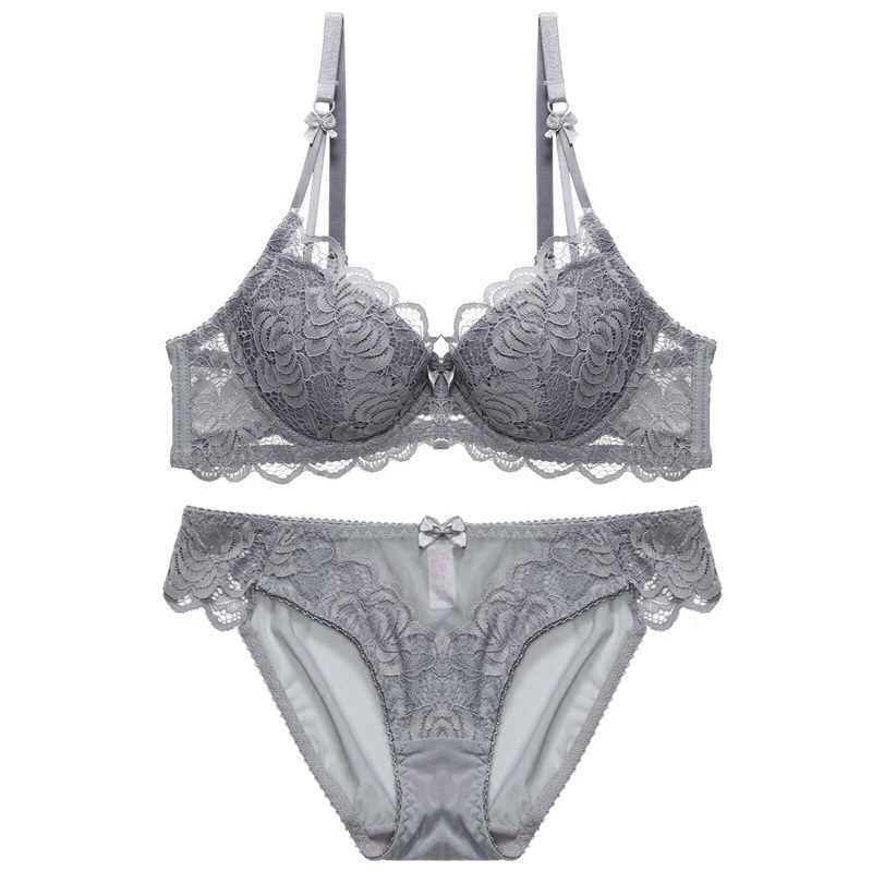 Sexy lingerie Lace silk gauze thin translucent bra set large size girl transparent underwear women set