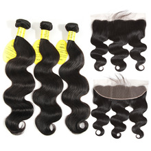 Dronning som Human Hair 3/4 Bundles Brasilian Body Wave With Closure Non Remy Øre til Øre Lace Frontal Closure With Bundles