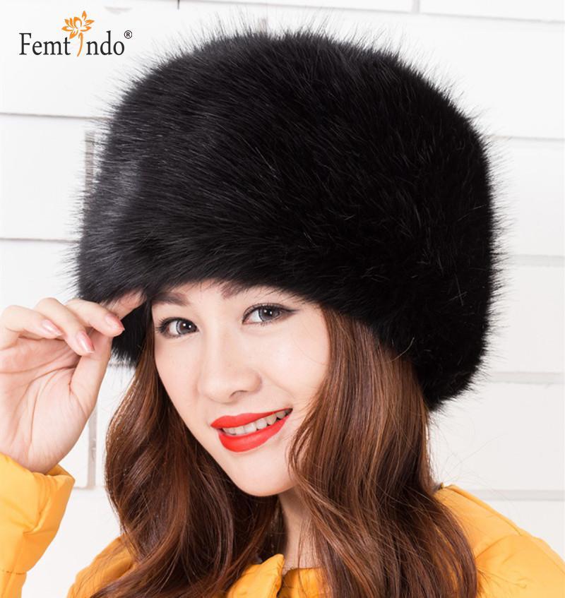 Nové módní teplé pánské kožené čepice Fox Fur Black Black White White Vícebarevné teplé zimní čepice pro ženy