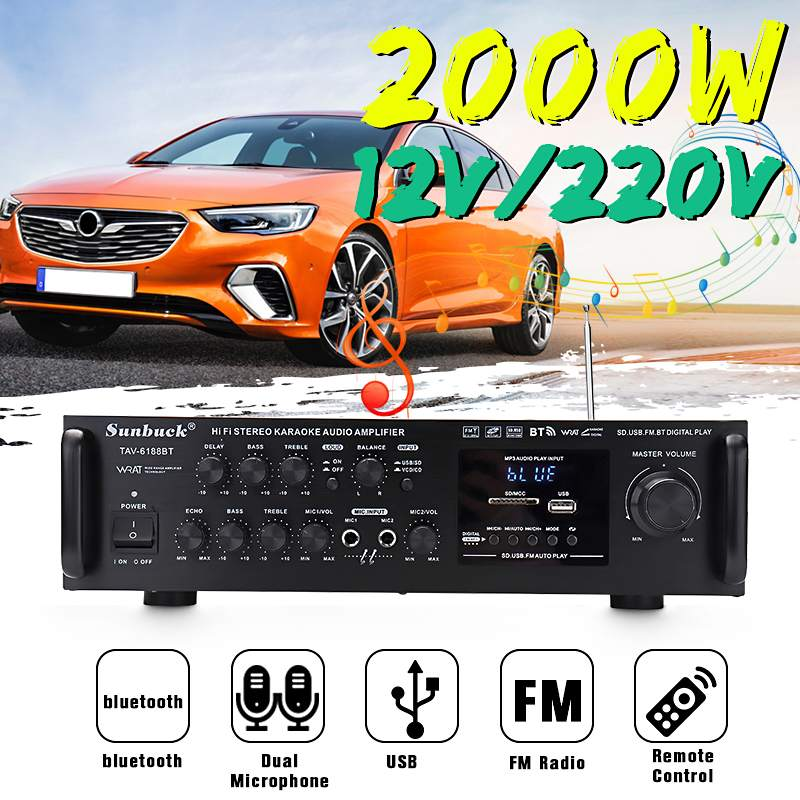 2000W 12V/ 220V 2 Channel Equalizer bluetooth Home Stereo Power Amplifier USB Car Amplifier Home Theater Amplifiers Audio