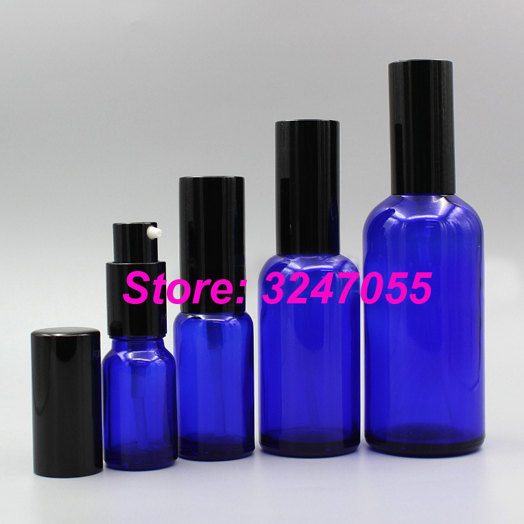 5ml10ml15ml20ml30ml50ml Blue Glass Cosmetic Emulsion Vial, Portable Makeup Glass Lotion Pump Bottle,Essential Oil Pump Container