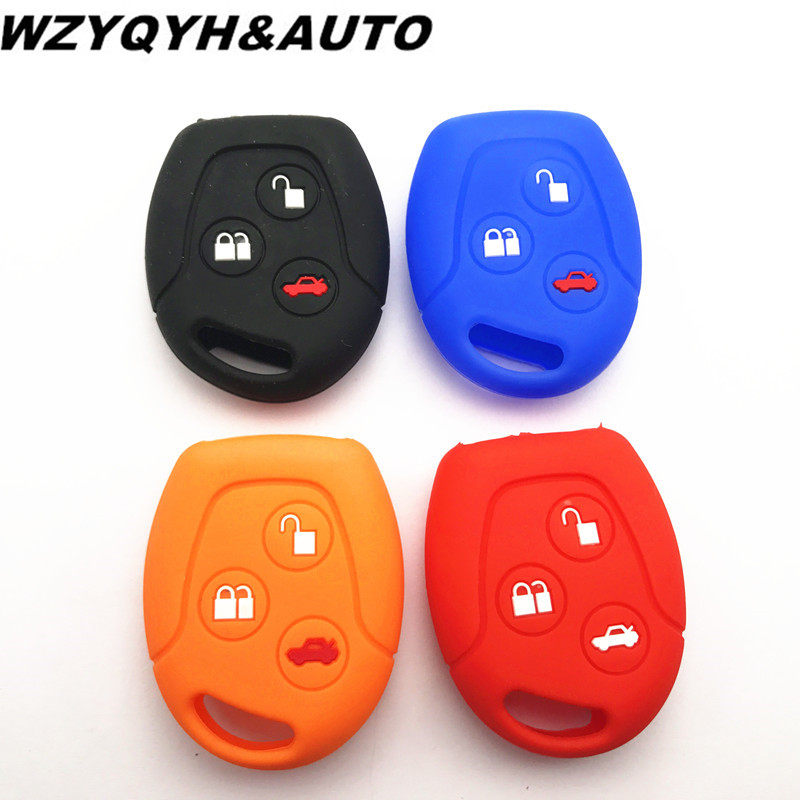 Car styling for ford Mondeo Fiesta Focus C-Max KA GALAXY Silicone protection Key Cover Car Keychain shell stickers remote holder