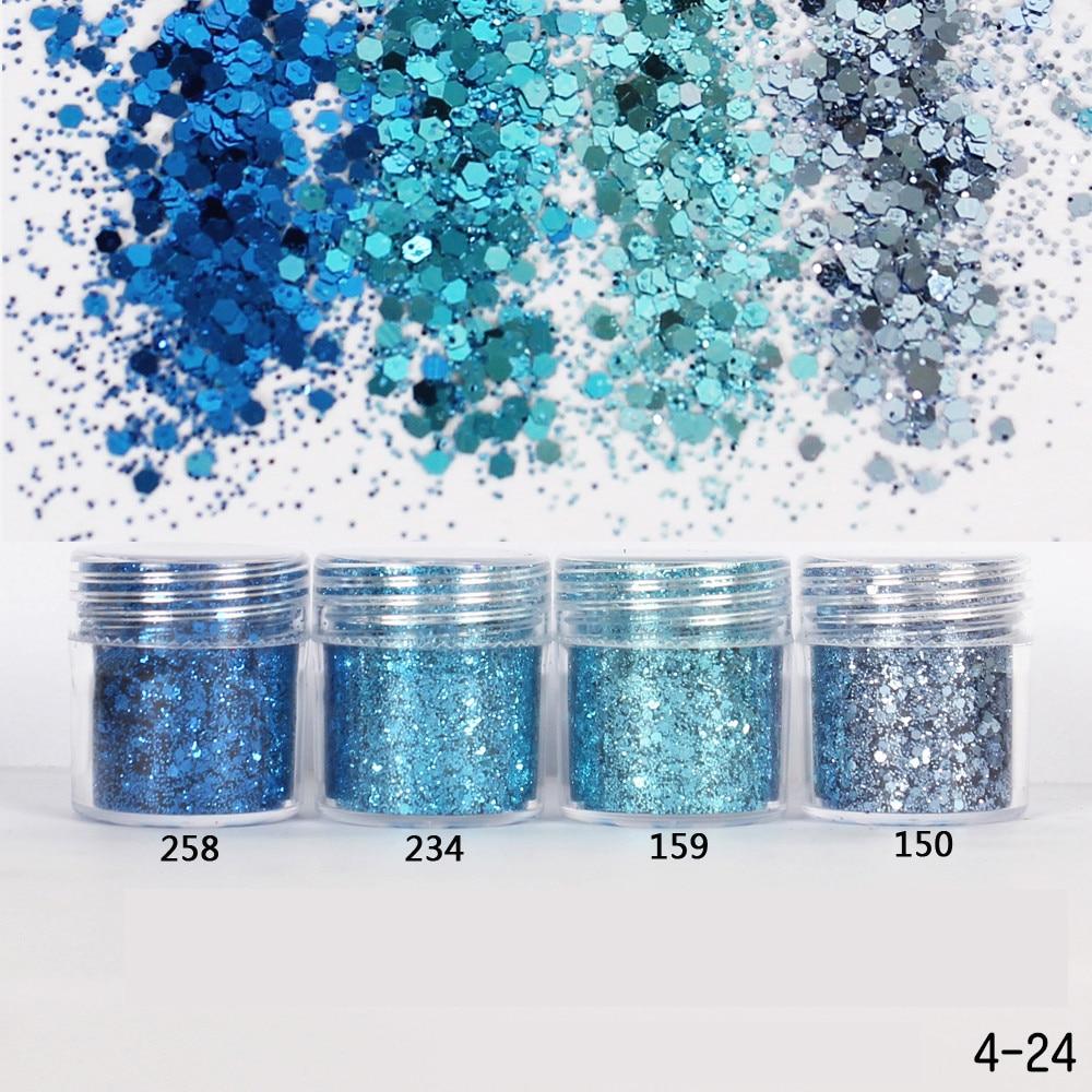 1 cutie cer albastru culoare albastru sclipici de praf un amestec fin 3D paie unghii paiete acrilice pulbere mare unghii sfaturi de artă decorare 10ml