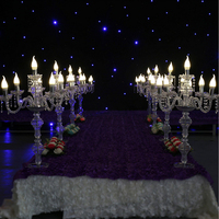 Table centerpiece 81cm(H) Acrylic 5-arms LED crystal lamp road lead Candlestick silver plated candle holder centerpiece
