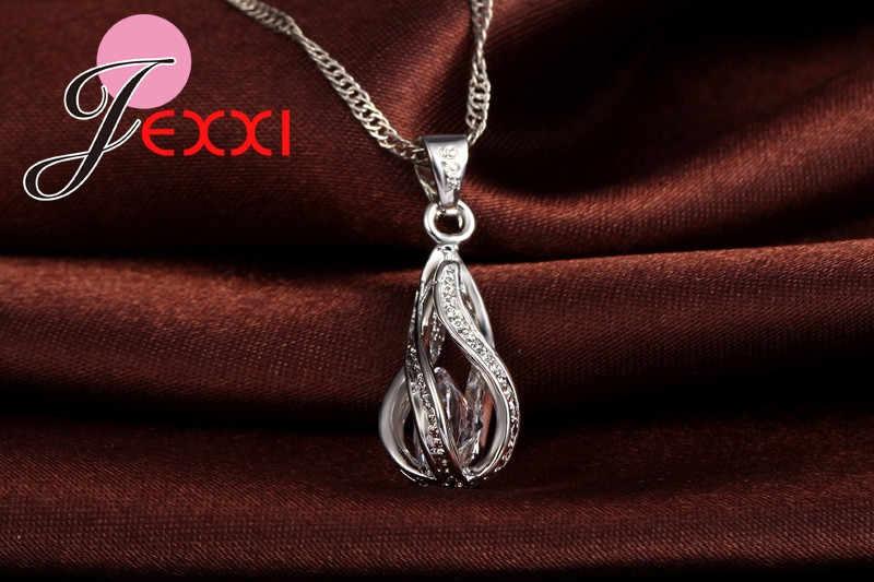 Gota de água quente cz 925 prata esterlina conjunto de jóias para as mulheres pingente colar hoop brincos festa casamento ceremoey anel