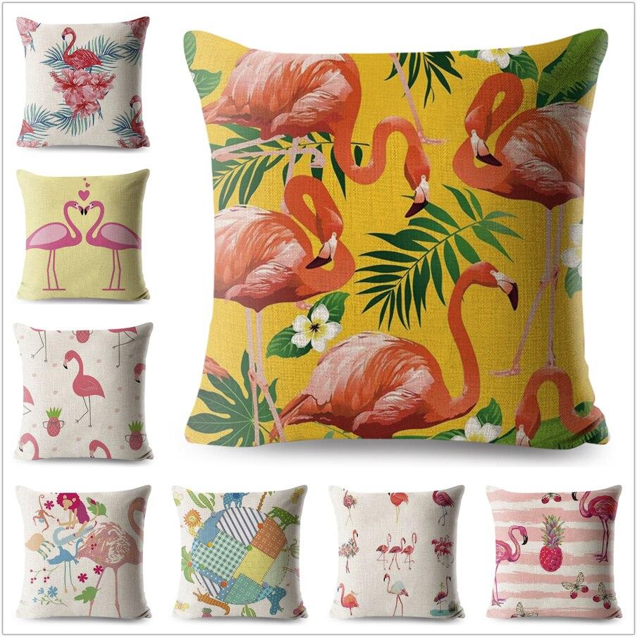 Flamingos Pillow Case Cartoon Animals Linen Cotton 45*45 Yellow Cushion Cover for Sofa Home Decorative Printed Throw Pillowcase