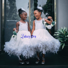 Lakeydra White Feather Flower Girl Dresses for Weddings Sleeveless Scoop Neck with Bead Zipper Back First Communion Dresses