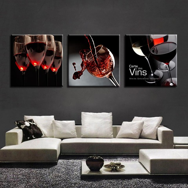 Canvas Paintings Kitchen Restaurant Wall Art 3 Pieces Red Wine Glass ...