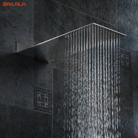 BAKALA Bathroom Showerheads 8 Inch Rainfall Shower Head Rain Shower Chrome Finish Square Stainless Steel Ultra thin Shower head