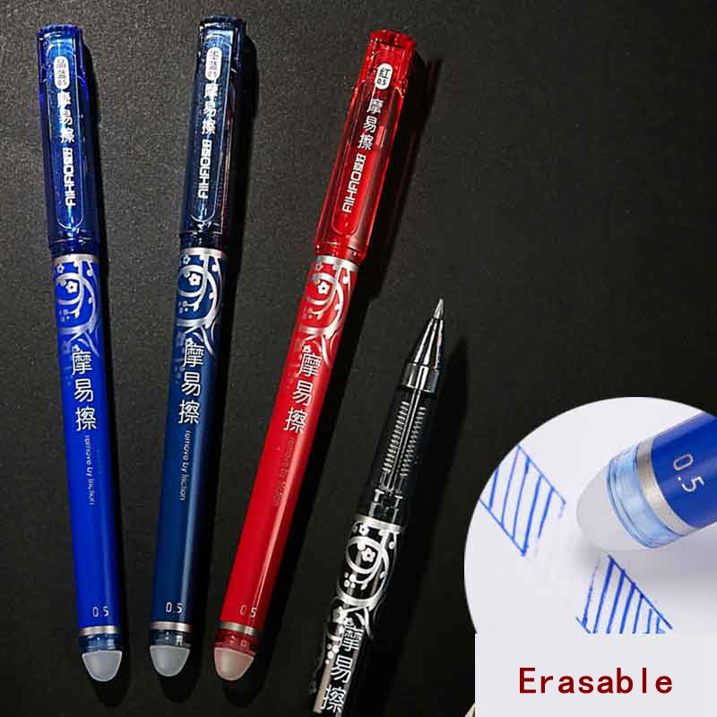 2Pcs/pack 0.5mm Erasable Gel Pen Refills Ink Red Blue Black Student Writing Neutral Ballpoint Pen School Office Stationery