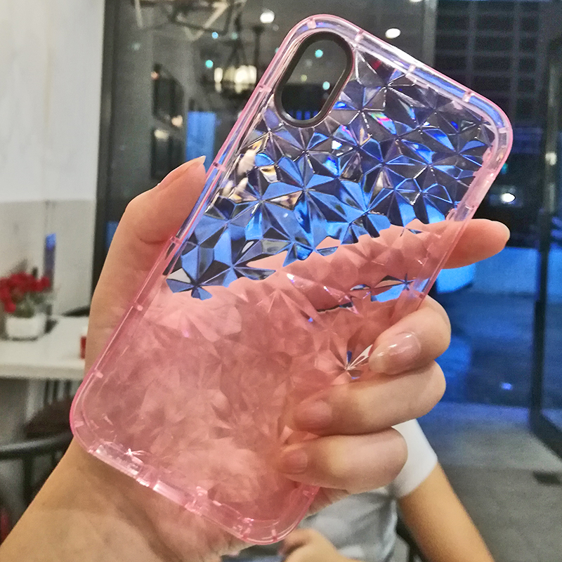 Luxury Geometric Diamond Transparent Soft Cover For iPhone 5 5S SE 6 6S 7 8 8 plus Rhombus Clear Case For iPhone X Water Feeling (16)