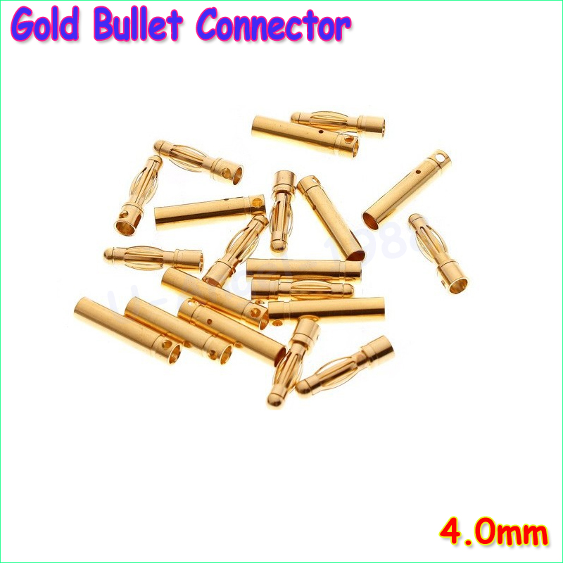 20 pair lot brushless motor high quality banana plug 3 0mm 3mm gold bullet connector plated for esc battery 20pcs/lot 4.0mm 4mm Gold Bullet Connector RC battery ESC (10 pair)