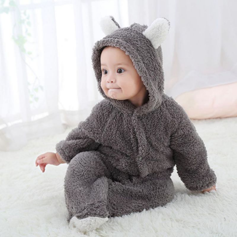 2019 New Winter Baby Clothes Flannel Baby Boy Clothes Cartoon Animal 3D Bear Ear   Romper   Jumpsuit Warm Newborn Infant   Romper