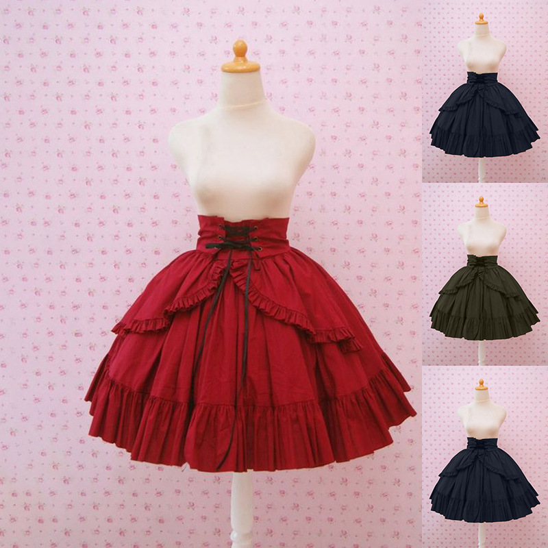 Retro Solid Students Ruffled Waistband Strap Temperament Princess Short Skirt Lolita Princess Ruffle Cosplay Costume Skirt