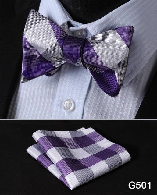 Check Polka Dot Silk Jacquard Woven Men Butterfly Self Bow Tie BowTie Pocket Square Handkerchief Hanky Suit Set G5 1