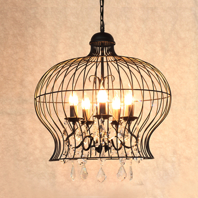 Retro Vintage Black Rust Wrought Iron Cage Chandeliers E14 Big French Empire Style Crystal Chandelier Led