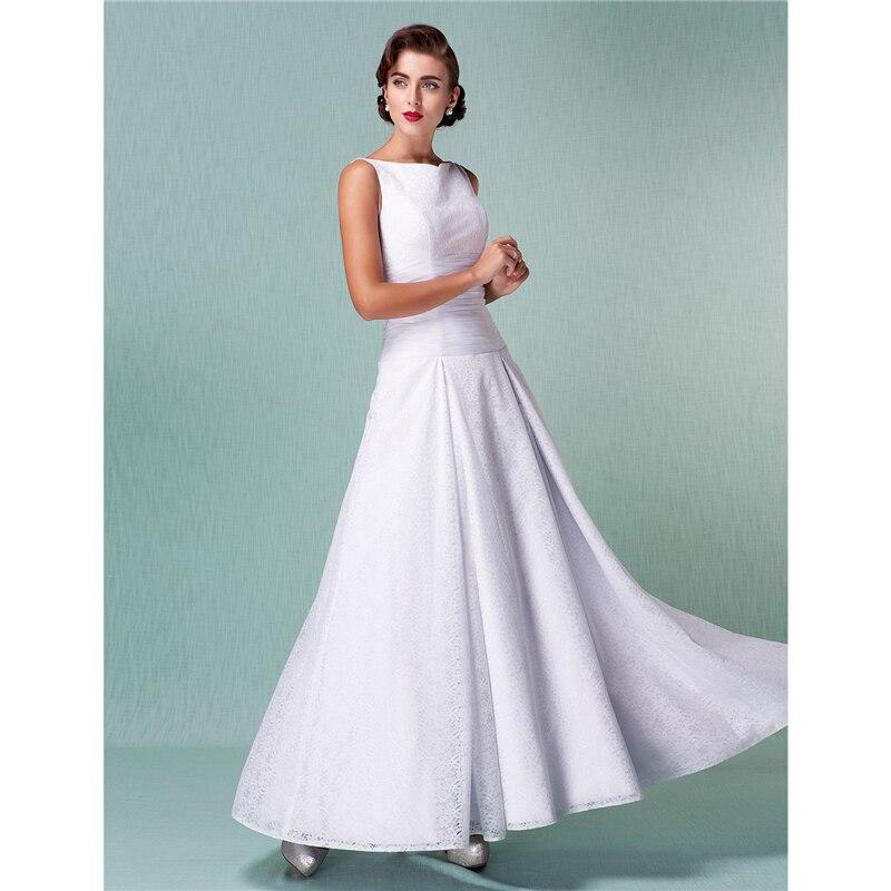 LAN TING невесты линии Бато шеи ботильоны Длина кружевное Пользовательские Свадебные платья с рюшами
