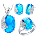 Uloveido Fashion Wedding Synthetic Jewelry Silver Plated Sets for Brides Blue Pendants Necklace and Earring Ring Set T061