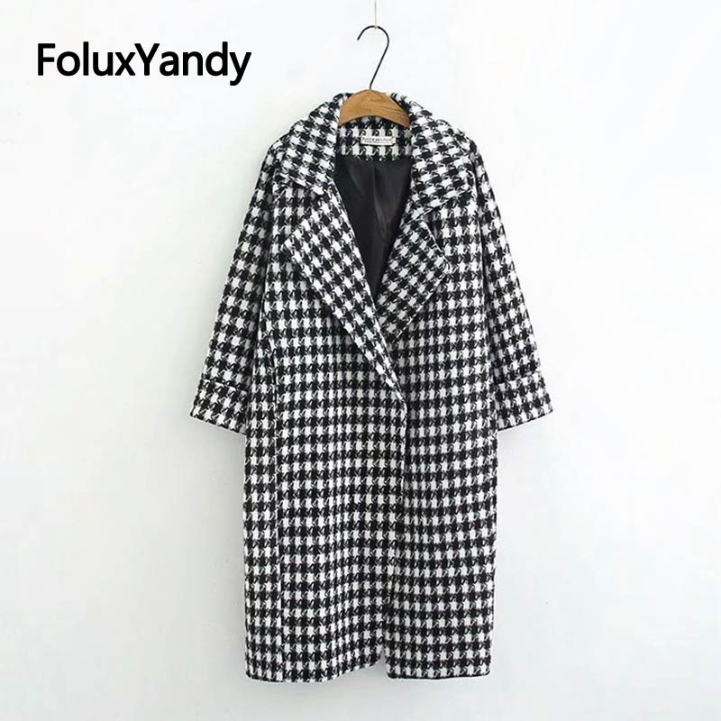Warm Thick   Trench   Coat for Women Plus Size XXXL 4XL High Street Plaid Long   Trench   Black Outerwear KKFY2854