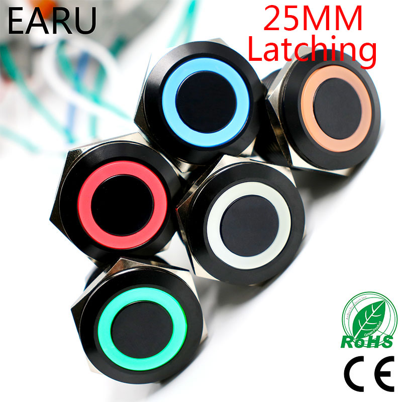 Black 25mm Metal Stainless Steel Waterproof Latching Doorebll Bell Horn LED Push Button Switch Car Auto Engine Start PC Power 1pc 6pin 25mm metal stainless steel momentary doorebll bell horn led push button switch car auto engine start pc power symbol
