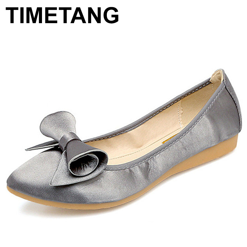 TIMETANG Soft Ladies Ballet Flat Shoes 2018 New Spring Shoes Big Size 42 Women's Flats Casual Summer Ballet Flats Women C094 new 2017 spring summer women shoes pointed toe high quality brand fashion womens flats ladies plus size 41 sweet flock t179