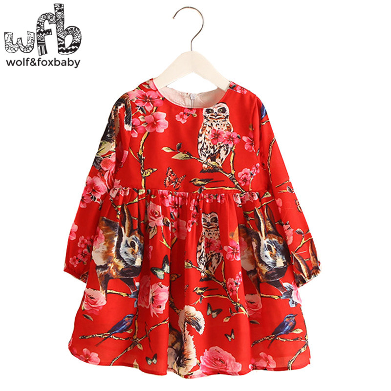 Retail 2-8 Milan Princess Dress Flax Long Sleeve Clothing Baby Girl Cute Korean Owl Red Floral Print Spring fall 2016 New 2 10yrs girls dress kids princess dress long sleeve baby girl cute palace style blue and white floral embroidery spring 2017 new