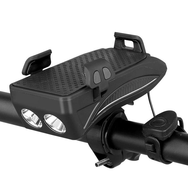 Multi-functional Front Bicycle Lamp USB Bike Light Built-in 2000 MAh /4000 MAh Battery With Phone Holder+Bike Horn Function