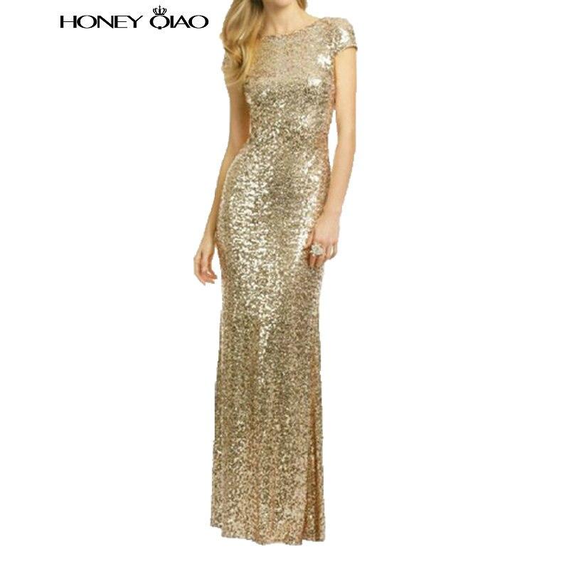 Buy Cheap Honey Qiao Black Gold Sequin Mermaid Bridesmaid Dresses High Back Long 2016 Navy Blue Maid of Honor Gowns Vestido De Festa