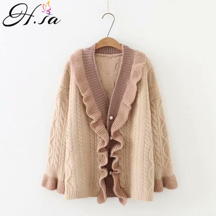 H.SA 2018 Autumn Winter Sweater Cardigans Ruffles Knit Coat Open Stitch Sweater Poncho Oversized Jacket Twisted Loose Cadigans